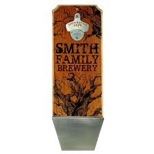 custom wall mounted wood plaque bottle opener and cap catcher family brewery