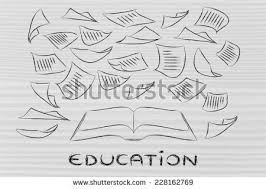 book written papers education key stock illustration  book and written papers education is the key
