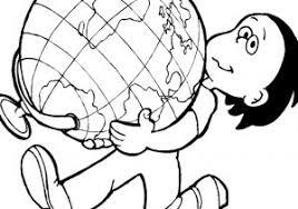 Mappamondo Da Colorare Per Bambini Con Disegno Di La Terra E Il Sole