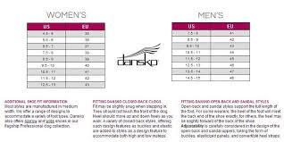 Dansko Clogs Size Chart Dansko Size Chart