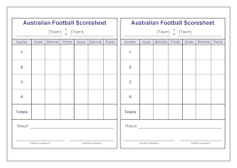 Football Score Sheet Template Football Scorecard Templates Free