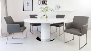 round white gloss extending dining table pedestal polished steel within extending dining room table and chairs