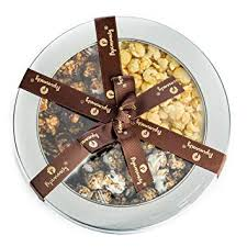 deluxe tri flavored popcorn gift tin sweet salty cookies cream caramel