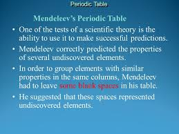 Mendeleev's Periodic Table This arrangement was the forerunner of ...