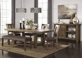 4 dining room set bench tamilo gray brown rectangular dining room extension table w 4 side