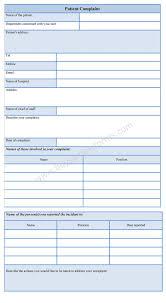 Sample Patient Complaint Form Patient Complaint Form 1