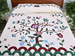 Tree of Life Quilt -- magnificent skillfully made Amish Quilts ... & Rose Blue and Green Tree of Life Appliqué Quilt Photo 1 ... Adamdwight.com