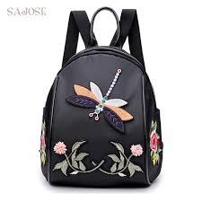 Black Designer Backpack Multifunction Embroidery Flowers Backpack Designer Dragonfly Shoulder Black Bag