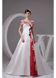 red and white wedding dress. off shoulder satin chapel train a line wedding dresses with color red and white dress
