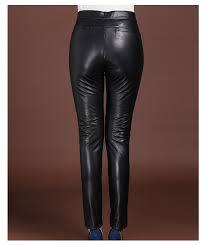 genuine leather pants women high waist black lady pant vintage sheepskin autumn winter plus size streetwear