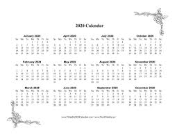 One Sheet Calendar 2020 Printable 2020 One Page Calendar With Flowers