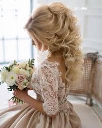 half up half down hairstyles wedding. elegant half up down wedding hairstyle with divine curls. glam ponytail curls hairstyles e
