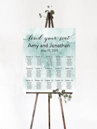 Create Your Own Table Chart Find Your Seat Sign Watercolor Wedding Seating Chart Sign