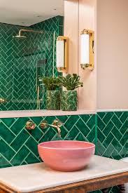 Funky Bathroom Light Pulls Emerald Green Metro Tiles Pink Ceramic Sinks Marble Topped