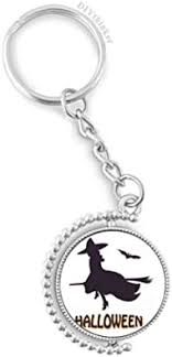 Witches Ride Broomsticks <b>Bat Halloween</b> Rotatable Keyholder <b>Ring</b> ...