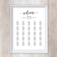8 Sizes Classic Black Editable Wedding Seating Chart