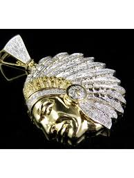 jewelry unlimited 10k yellow gold real diamond native american indian head pendant 1 1 4 ct 1 75 com