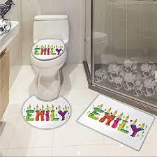 Amazoncom Emily Toilet Floor Mat Set Cartoon Doodle Birthday Cake