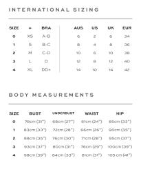 B Swim Size Chart Size Guide Palm Swimwear