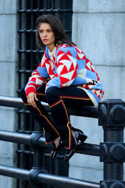 When's the best time to drink coffee—a.m., afternoon or after dinner? Nina Dobrev Seen Wearing A Colorful Patterned Sweater On The Set Of A Photoshoot In Soho New York City 031118 1