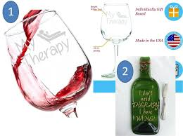 funny wine glass my therapy here