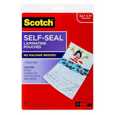 Scotch® 10ct Target Size Self-seal Clear Sheets Laminating - Letter