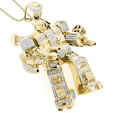 custom jewelry 3 d transformer diamond pendant 1 25ct gold plated yellow image