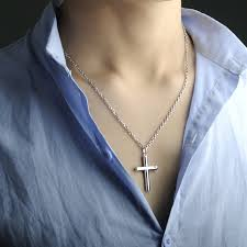 blue sweet necklaces cylinder cross pendant for men or women sterling silver cross necklace with cz diamond matching jewelry set for him