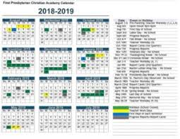 Year To Year Calendar 2018 2019 School Year Calendar First Presbyterian Christian Academy
