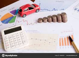 Car Expenses Calculate With Notes And Toy Car Stock Photo