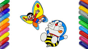 Women's jeans with a heart and flowers. Nobita And Doraemon In Insect World Draw And Color Doraemon Cartoon