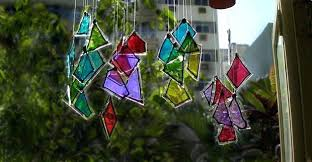 wind chime garden crafts from unused glass pieces painted in diffe colors chimes how to make glass wind