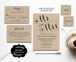 Wedding Card Template Stunning Wedding Invitation Card Template Printable Wedding Etsy