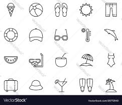 Summer Set Icons In Outline Style Vacation