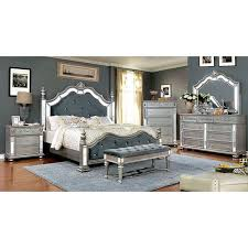 4 PIECE AZHA MIRRORED BEDROOM SET SILVER FINISH (Furniture) In Moreno  Valley, CA   OfferUp