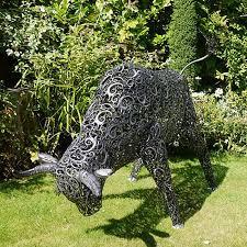 garden sculpture. Large Metal Bull Garden Sculpture A