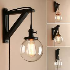 retro industrial globe glass lampshade