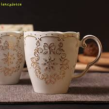Gold japanese style young girl lace butterfly coffee cup mug tea cup white  embossed decorative pattern