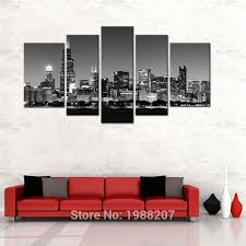 2019 5 picture canvas paintings wall art black and white chicago city night view paintings artwork with wooden framed for home decor from meiledi wall art