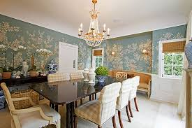 View in gallery Covering half the wall with wallpaper is a popular choice  in the dining room [Design
