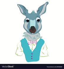 Kangaroo Character Design Hipster Kangaroo In Cool Fashion Clothes