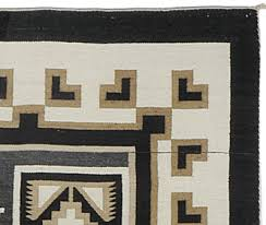 detail of spirit line of navajo two grey hills storm pattern textile by daisy tauglechee