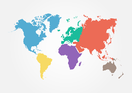 World Map Flat Design Vector World Map With Continent In Different Color Flat