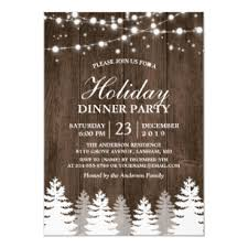 Christmas Dinner Invitation Templates Rustic Wood String Light Pines Tree Holiday Party Invitation