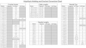 Crochet Needle Conversion Chart Knitting Needles Sizes