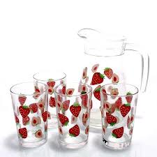 glass sets drinking jug and tumbler glass drinking set glass water jug set colored drinking glass