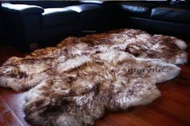 lon white brown sheepskin rug