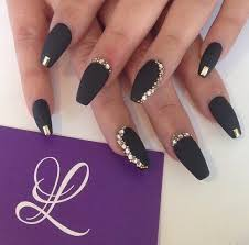 Matte Black With Gold Bling Coffin Nails Accersionesnails