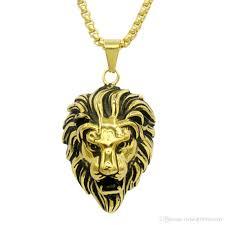 whole new fashion punk lion head gold silver black hip hop neckalce metal submachine t maxi pistol necklace pendants hip hop jewelry for men blue