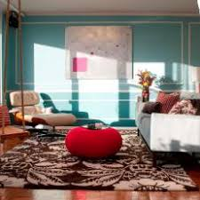 Teal and red living room Modern Teal Transitional Living Room With Brown Damask Area Rug Lorikennedyco Photos Hgtv